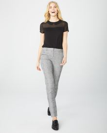 Grey Plaid Slim Leg ankle pant