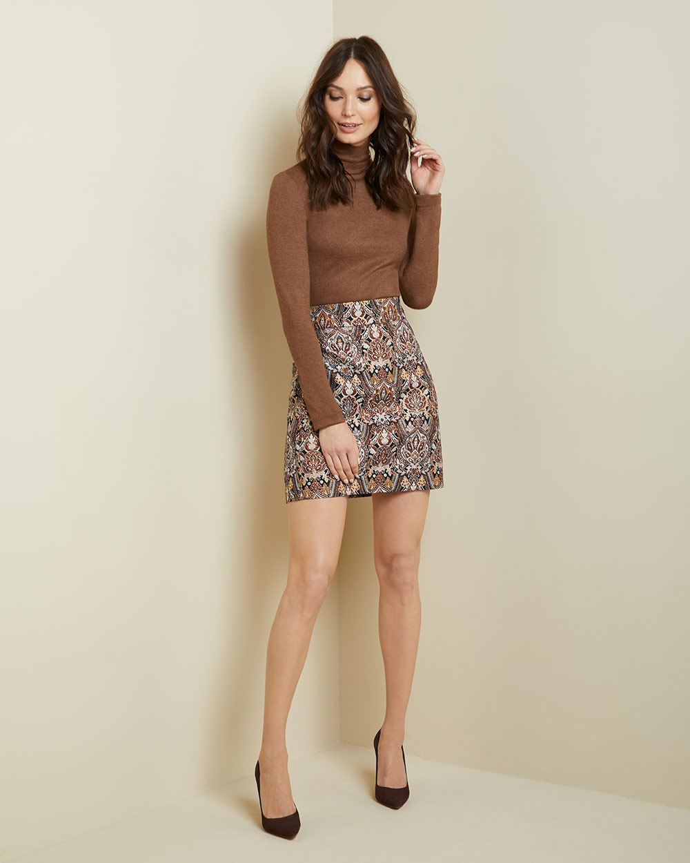 Metallic jacquard High-waist short skirt
