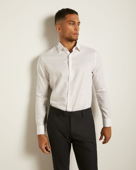 Tailored Fit Textured Dots Dress Shirt