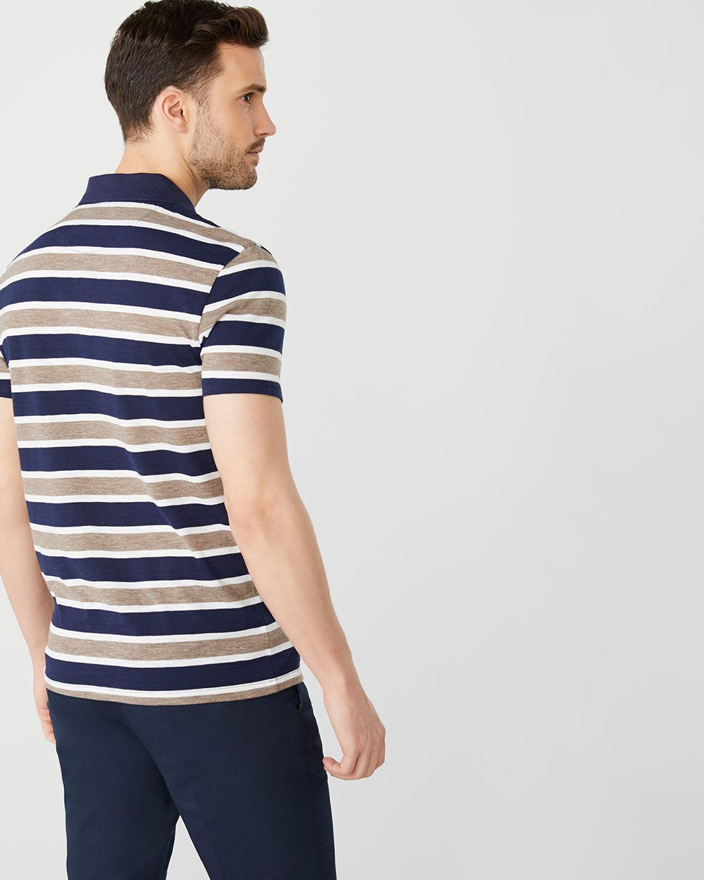 Short Sleeve striped slub polo