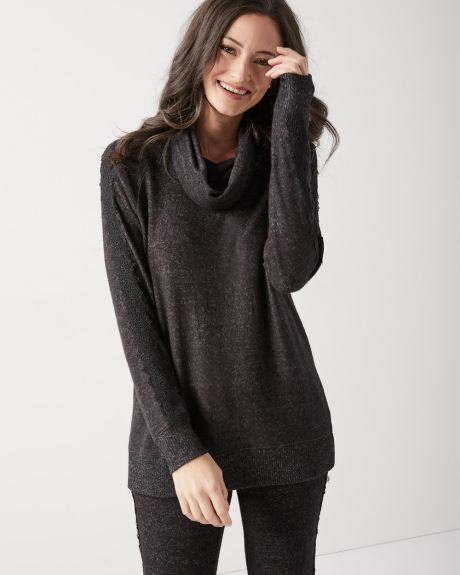 Lace-trimmed Loungewear turtleneck t-shirt 8c962b478
