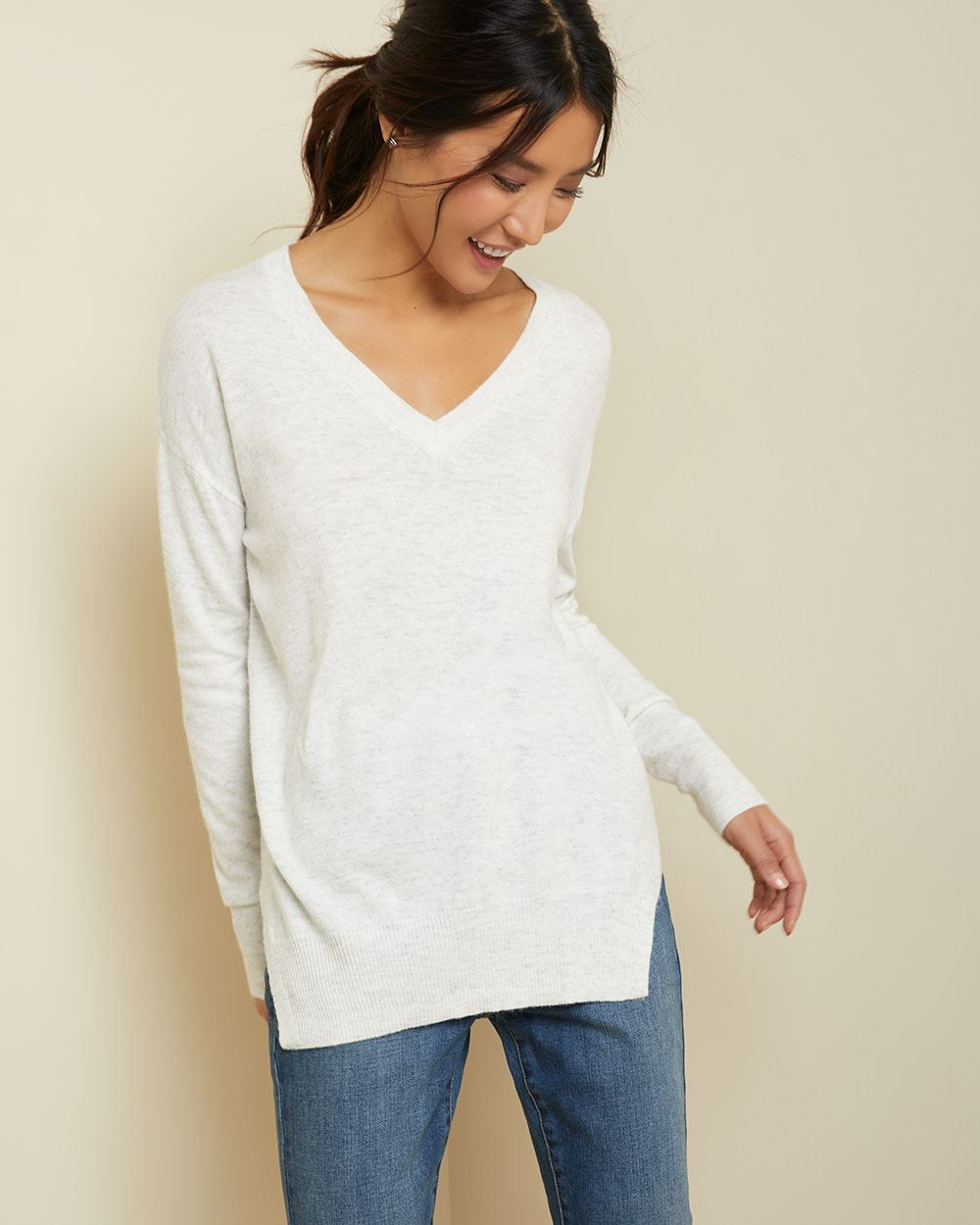 Cashmere-like V-neck tunic Sweater