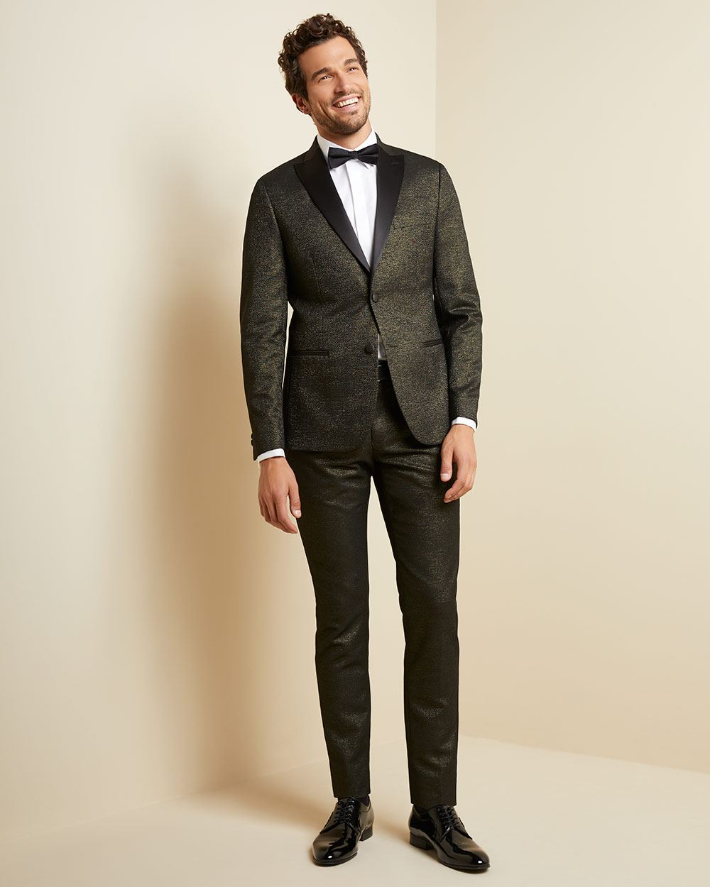Slim fit black and gold tuxedo pant