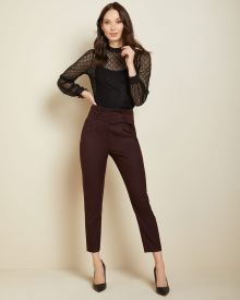 Belted High-waist flannel paper bag pant