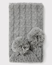 Cable knit scarf with pompom