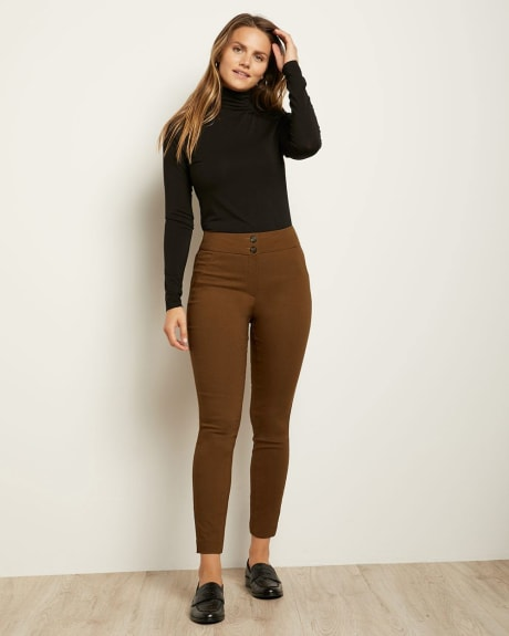 Ankle-Length Buttoned High-Waist Legging Pant
