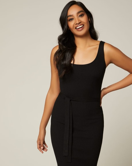 Belted Bodycon knit dress