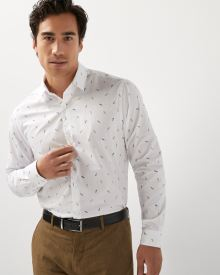 Athletic fit skateboard print dress shirt