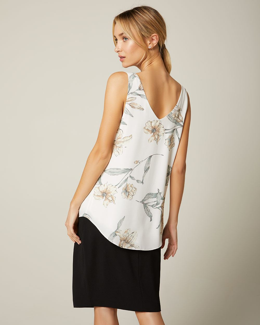 Straight fit printed Silky crepe cami