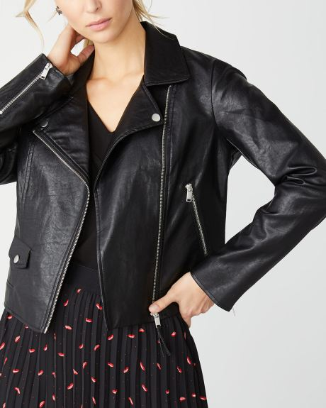 Faux-leather biker jacket