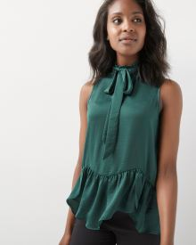 Sleeveless Satin blouse with neck tie