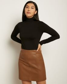 Faux Leather High-Waist Mini Skirt