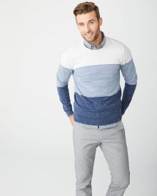 Blue stripe crew-neck sweater