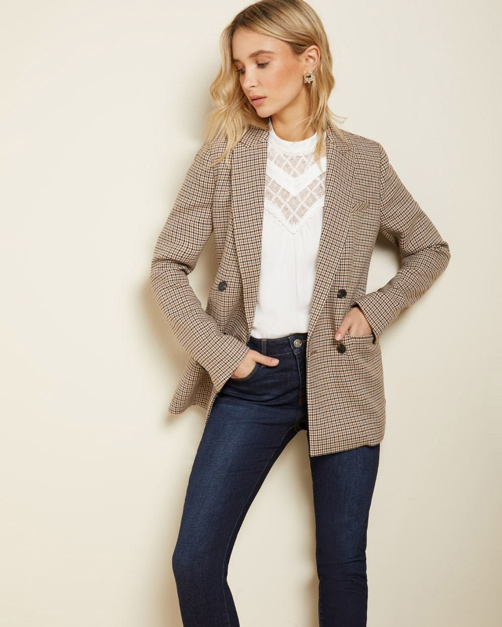 Long Loose fit Double-breasted houndstooth blazer