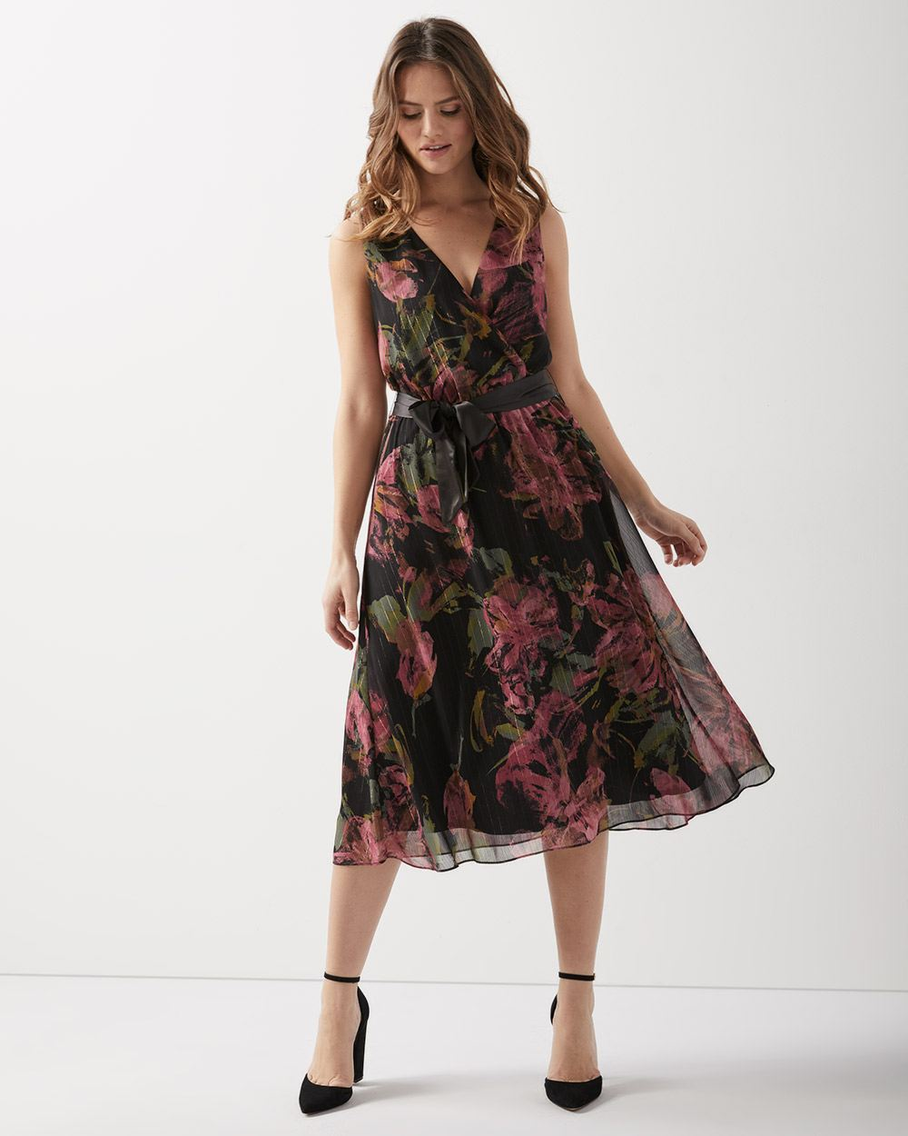 bbb192c6eb998 Floral chiffon dress with lurex | RW&CO.