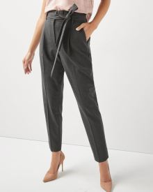 Heather grey stretch signature fit paper bag pant