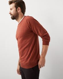 Rolled-edge crew-neck sweater