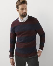 Colour block crew-neck sweater