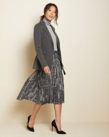 Pleated snake-print chiffon skirt with sash