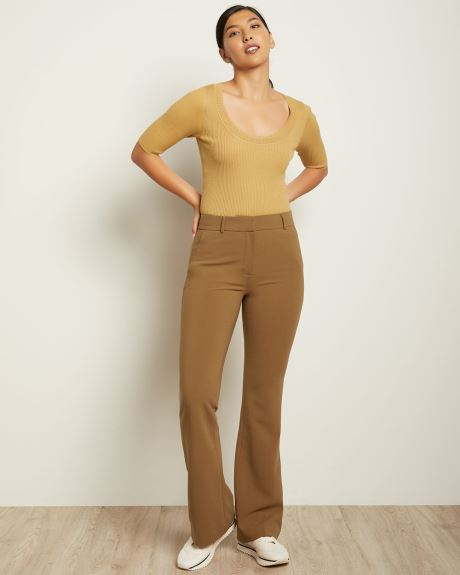 Solid High-Waist Signature Fit Flare Leg Pant