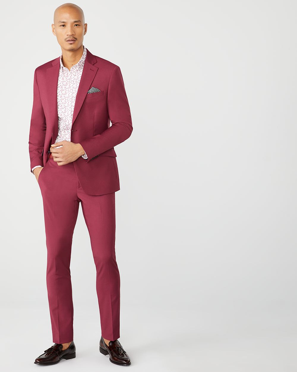 Slim Fit berry red suit blazer