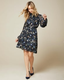Floral chiffon fit and flare dress