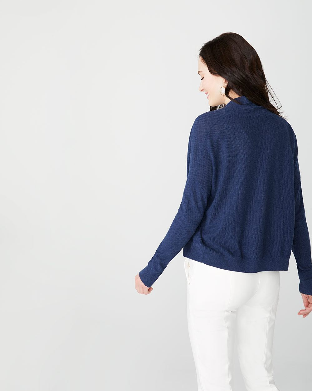 Short open-front cashmere-like cardigan