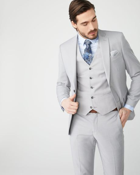Essential stretch light heather grey suit vest