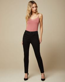 High-waisted skinny jeans in black denim