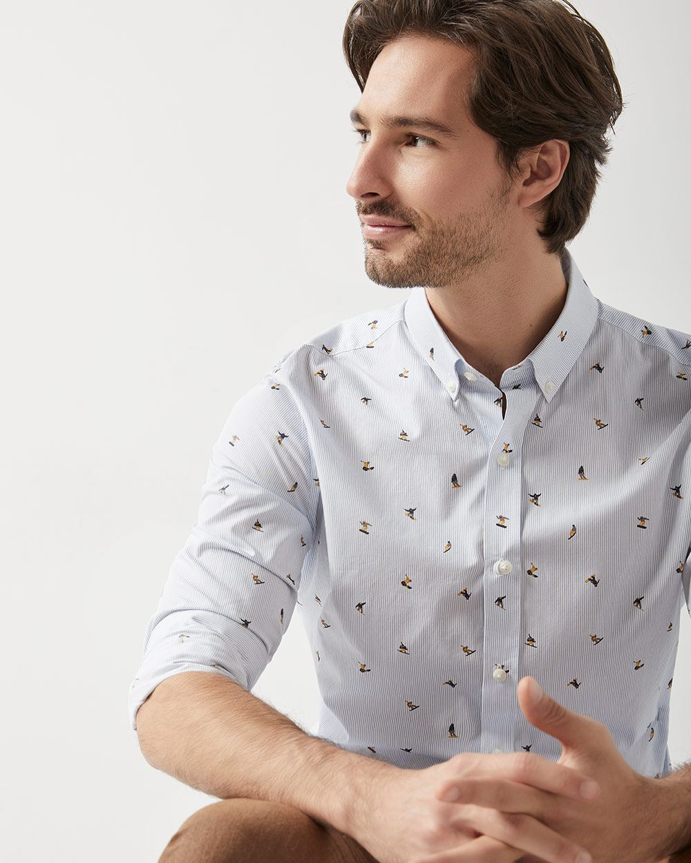 Tailored fit printed Pinstripe shirt