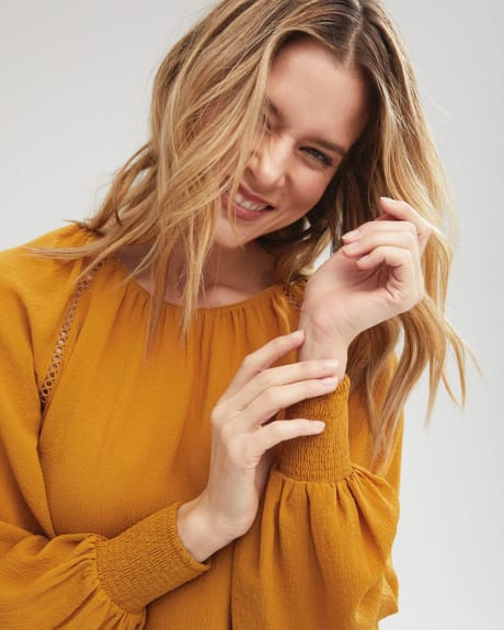 Lace-Trimmed Popover Blouse