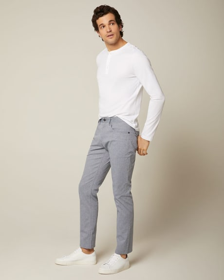 Textured weave 5-pocket pant