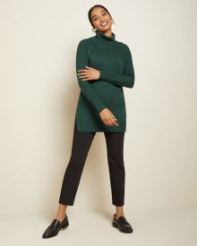 Textured split cowl-neck tunic sweater