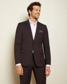 Slim Fit Dark Burgundy wool-blend Traveler suit Blazer