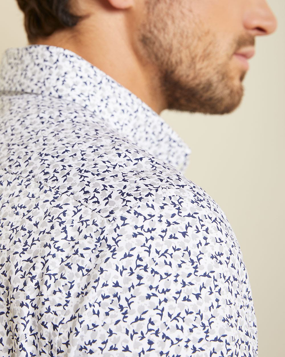 Tailored fit grey and navy floral shirt