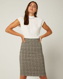 Grey Glen Plaid Pencil City Skirt