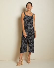 Silky crepe cropped wide leg jumpsuit