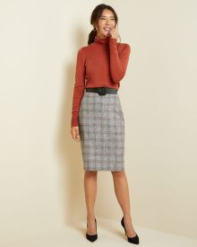 Flannel plaid High-waist pencil skirt