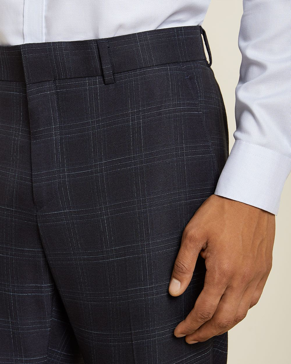 Tailored Fit checkered navy blue suit pant
