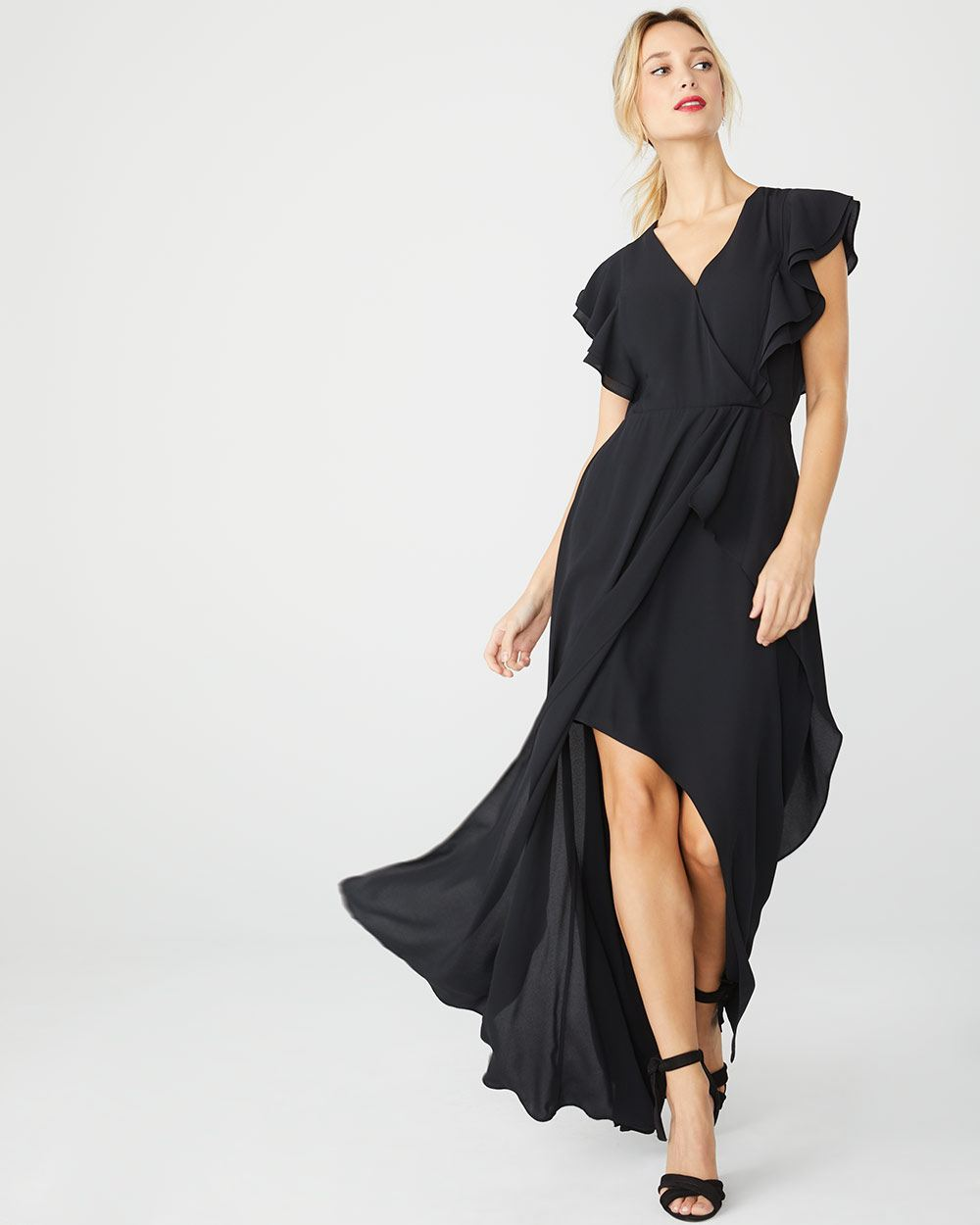 Silky crepe maxi cocktail dress