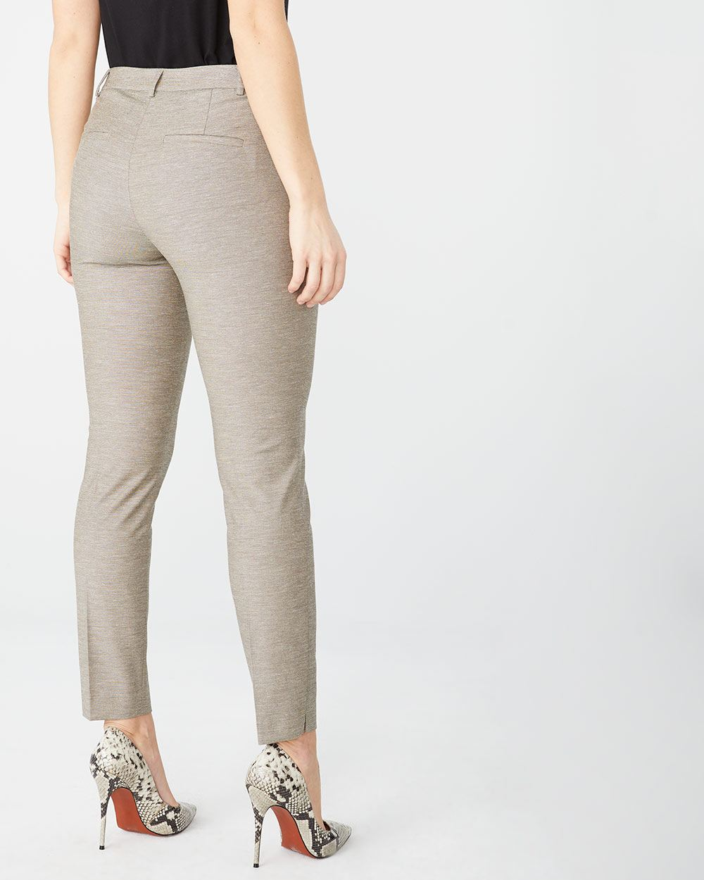 Stretch linen-blend Signature fit Slim Leg ankle pant