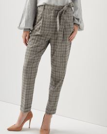 High-waist flannel plaid pleated pant with sash