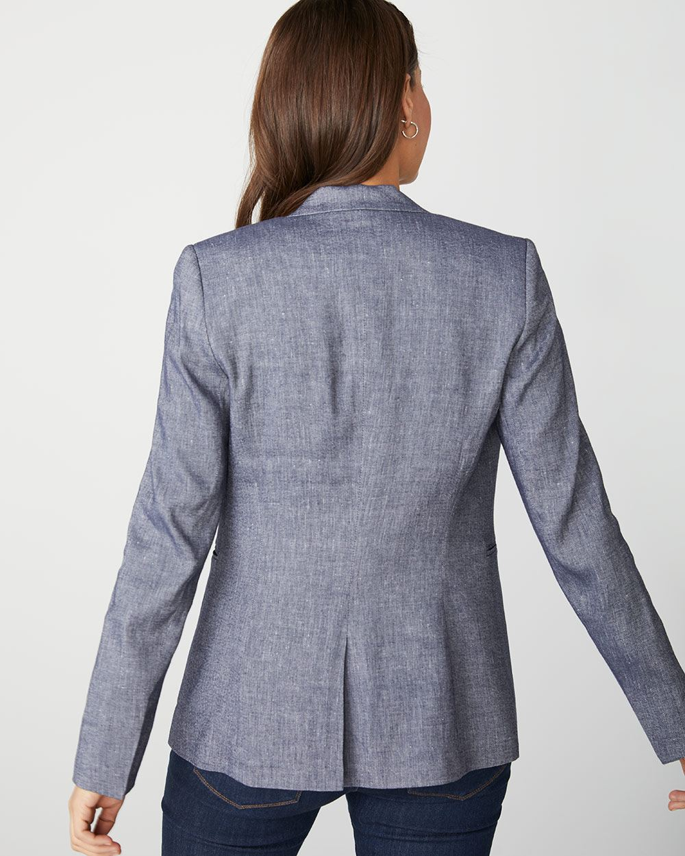 Long chambray linen-blend blazer