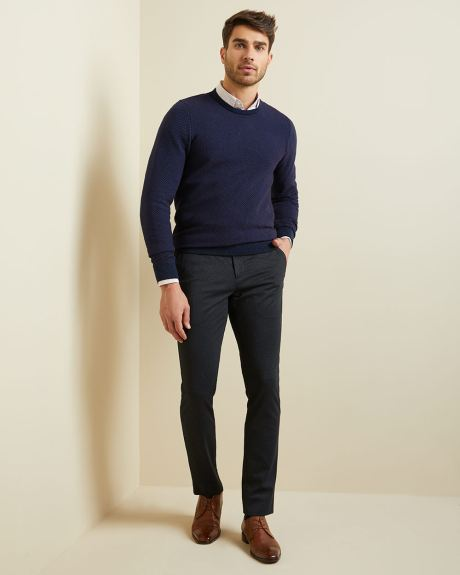Two-tone crew-neck sweater