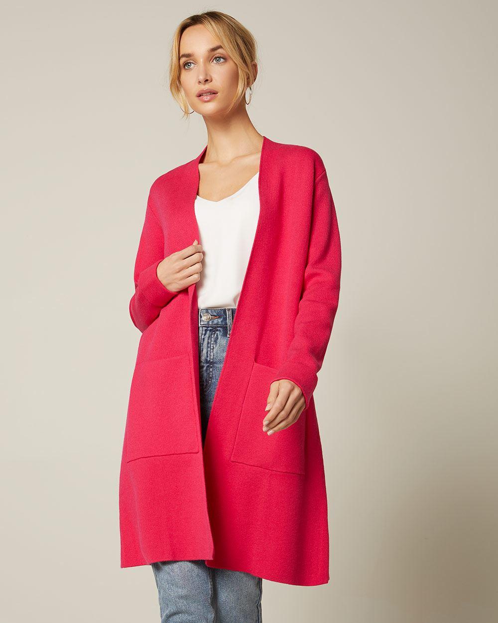 FNKDOR Manteau Cardigan Femme Chic /Él/égant Ouvert Veste Long en Velours /à Basque et /à Manches Longues Blouson Costume
