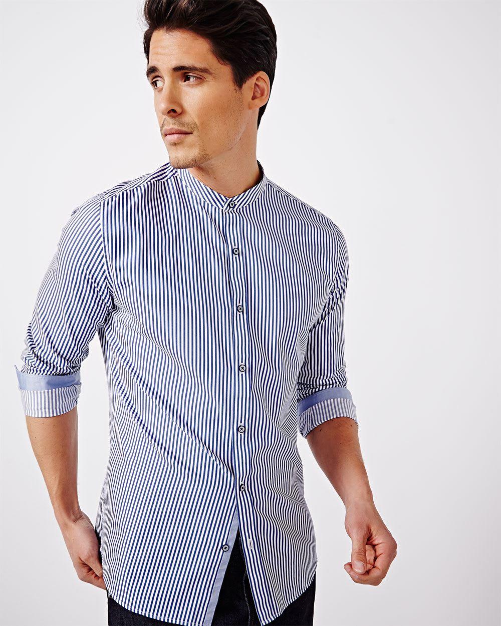 b48c68aa3 Tailored Fit Striped Shirt with Mandarin Collar | RW&CO.