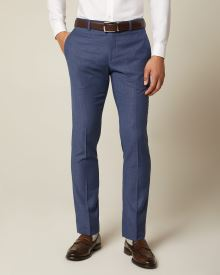 Slim fit textured medium blue suit pant