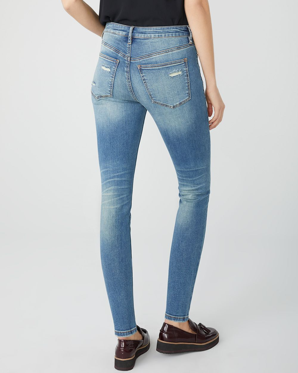 Mid-rise Sculpting skinny jeans in distressed denim