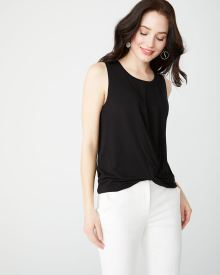 Sleeveless French terry twist-front t-shirt
