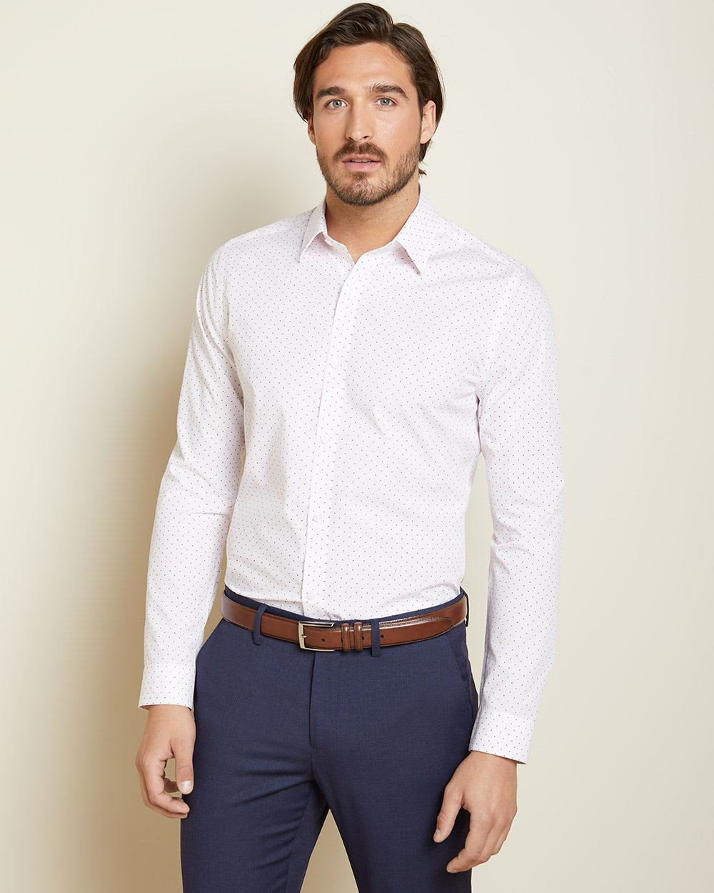 Slim Fit lines and dots dress shirt